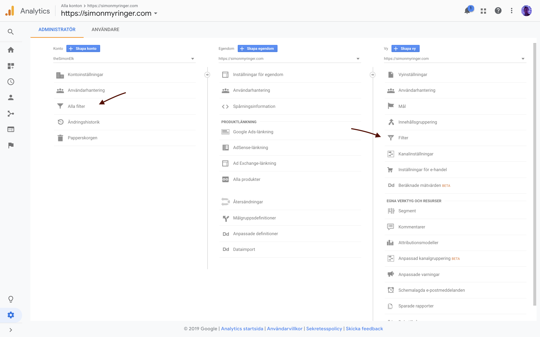 Du kan hantera filter på två platser i Google Analytics.