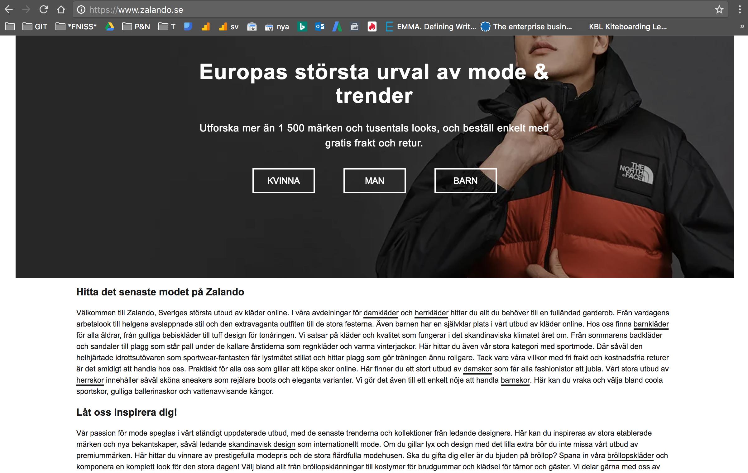 Inne på första sidan av Zalando möts du av en utvald SEO-anpassad text. Texten är skriven för att påvisa kvalitet för sökmotorerna.